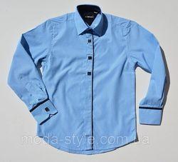 Голубая рубашка в полоску на мальчика длинный рукав 6-13 лет