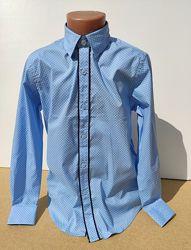 Голубая рубашка на мальчика длинный рукав 6-15 лет