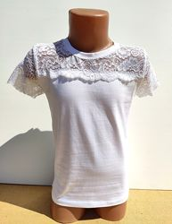 Нарядная школьная блуза футболка на девочку 6-7 лет Benini