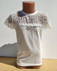 Нарядная школьная блуза футболка на девочку 10-16 лет