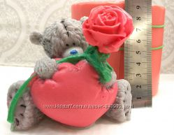Форма силиконовая 3D для мыла и свечей Тедди с розой