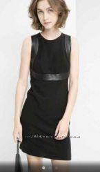 Стильное маленькое чёрное платье футляр с кожаными вставками Mango