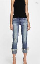 Стильные укороченные джинсы с отворотами и камешками Zara 32 34 р.