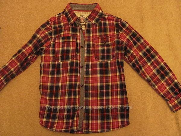 рубашки Некст тонкие и фланелев. 6-7 лет