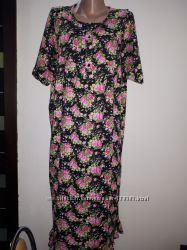 р XL Made in Turkey коттон новое домашнее платье или ночная рубашка плечи