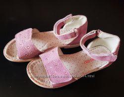Замшеві рожеві босоніжки зі стразами 18, 5 см
