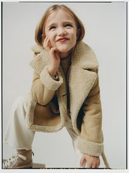 Пальто стильная дублёнка Zara на девочку 8 лет