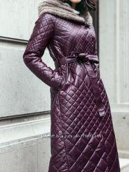 Кожаные пальто две расцветки сливовый и чёрный