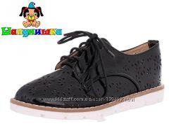 Отличные туфли для девочки в школу на весну черные Шалунишка шнуровка 31-36