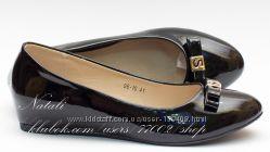 Женские черные Лакированные туфли балетки на скрытой танкетке, в наличии 36