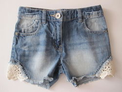 Джинсовые шорты Next для девочки 7-8 лет