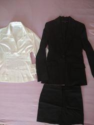 Комплект костюм пиджак юбка блуза 34-36 размер 8-10