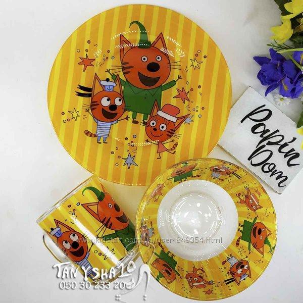 Детский набор посуды с мультяшными героями - 3 предмета - стекло