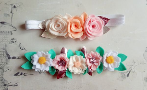 Повязка с цветами из фетра подсолнух фетровые повязки ромашки