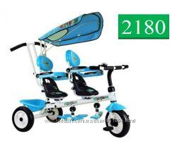 Велосипед Трехколесный Двухместный PROFI TRIKE Супер Трешка T021D Голубой