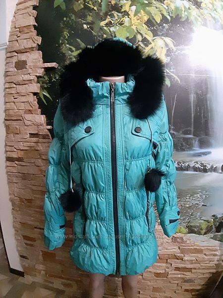 Куртка пуховик бирюзовая женская размер 44-46