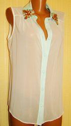 Блузка женская голубая нарядная F&F Размер 46 M