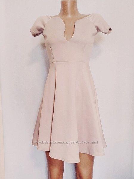 Платье женское розовое бежевое элегантное Missguided Размер 44 S, UK10, E