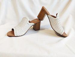 Босоножки женские кожаные белые мюли сабо M&S Marks & Spencer размер 37, U