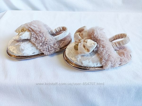 Сандалии детские меховые стильные тапочки розовые River Island Mini размер