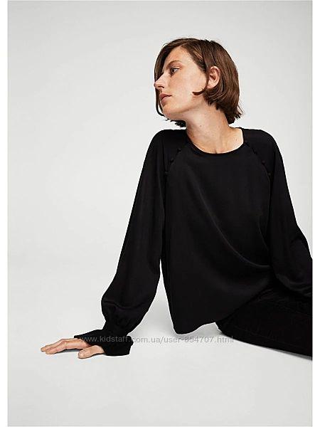 Блуза женская черная стильная casual Mango размер 44, S, UK8
