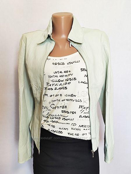 Куртка женская кожаная жакет мята Autograph by Marks & Spencer размер 42,