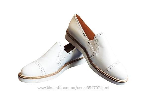 Туфли женские лоферы кожаные белые KIOMI размер 38, EU39