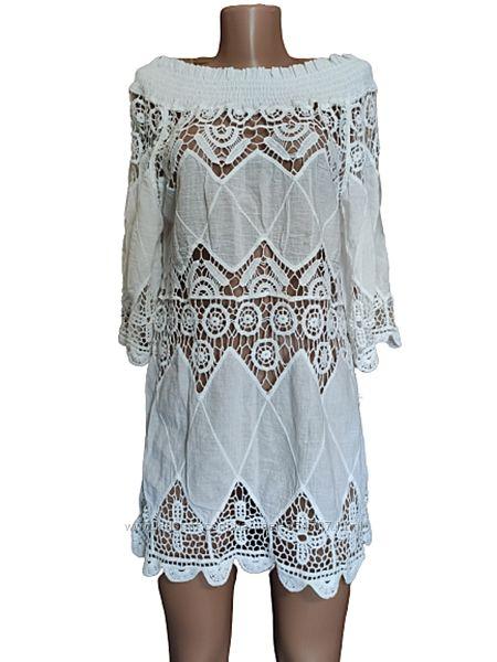 Платье туника белое кружево батист Fashion размер 46-48, M, UK12