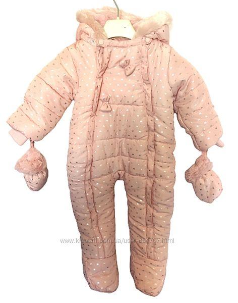 Комбинезон детский утепленный розовый Gee Jay Baby размер 74 см, 6-9 мес