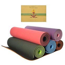 Йогамат двухслойный, коврик для фитнеса и йоги TPE. 183см 61см 8мм