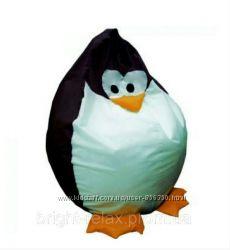 Бескаркасное кресло-мешок в детскую Пингвин черный ТМ Soft Planet