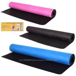 Профессиональный коврик для фитнеса и йоги, йогамат. КаучукЗамш 183см68см3мм