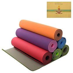 Чехол в Подарок. Йогамат двухслойный, коврик для фитнеса и йоги TPE 6мм