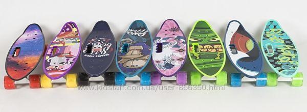 Скейт MS 0461-1 пенни, 59-16 см, алюмин. подвеска, светящ. колеса.