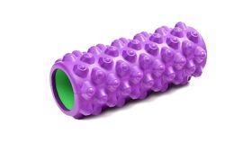 Роллер GEMINI 33-14см. Усиленный, для глубокой проработки мышц. Фиолетовый.