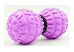 Массажный мячик двойной duoball 13,5х6,5 см серый. Мяч для массажа спины.