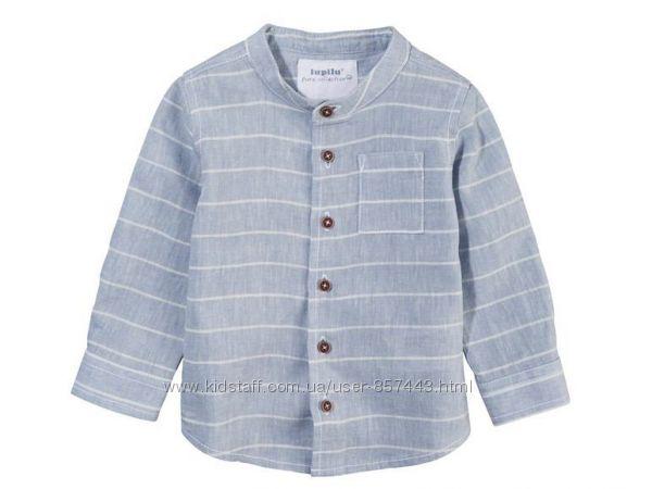 Льняная рубашка на мальчика р. 50 , 68 см lupilu. германия