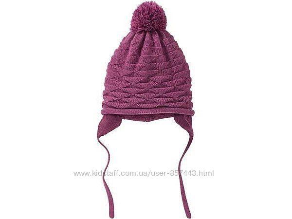 Теплая вязаная шапка на флисе, lupilu. 62-68 см
