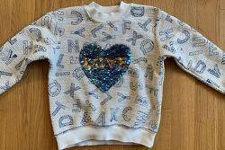 Свитерок кофта свитшот с сердцем - пайетками на 6-8 лет, Турция
