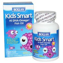 Bioglan, Умные детки, Рыбий жир с высоким содержанием Омега-3