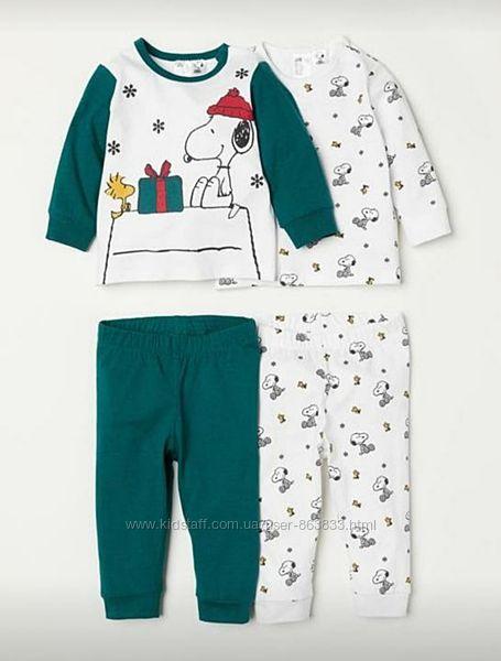 Комплект пижам для новорожденного 0-1 мес пижама H&M пижамы штаны