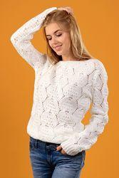 Нарядный свитерок ажурной вязки с атласной лентой, размер универсал 46-50
