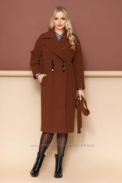 Кашемировое пальто весна-осень ниже колена, английский воротник А35 р. 42-5