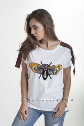 Турецкая футболка свободного кроя Стрекоза, Пчела, размеры S, M полномерка