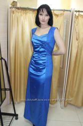 Шикарное атласное вечернее выпускное платье, можно на свадьбу, р. 44, 46