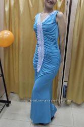 Вечернее платье на выпускной, платье на свадьбу с кружевом размер 44-46