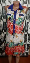 Очень красивое платье гипюровое с оригинальной синей планкой, размер 44-46.