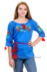 Вышиванка женская с цветами, жіноча вишита сорочка, р. 42-52
