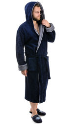 Мужской махровый халат с капюшоном, р. L-3XL