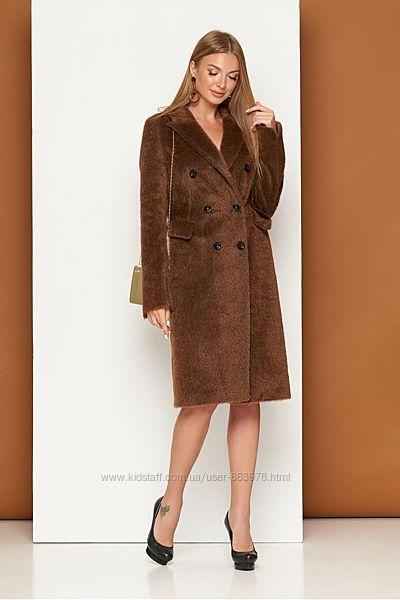 Крутое двубортное мохнатое пальто А40, р. 42, 44, 46, 48